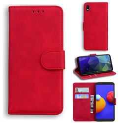 Retro Classic Skin Feel Leather Wallet Phone Case for Samsung Galaxy A01 Core - Red
