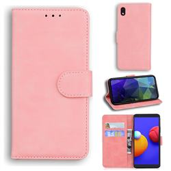 Retro Classic Skin Feel Leather Wallet Phone Case for Samsung Galaxy A01 Core - Pink