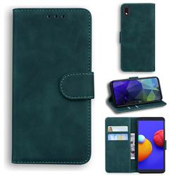 Retro Classic Skin Feel Leather Wallet Phone Case for Samsung Galaxy A01 Core - Green