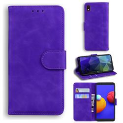 Retro Classic Skin Feel Leather Wallet Phone Case for Samsung Galaxy A01 Core - Purple