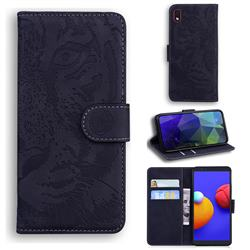Intricate Embossing Tiger Face Leather Wallet Case for Samsung Galaxy A01 Core - Black