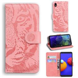 Intricate Embossing Tiger Face Leather Wallet Case for Samsung Galaxy A01 Core - Pink