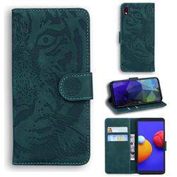 Intricate Embossing Tiger Face Leather Wallet Case for Samsung Galaxy A01 Core - Green