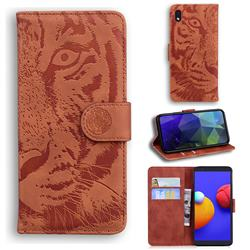 Intricate Embossing Tiger Face Leather Wallet Case for Samsung Galaxy A01 Core - Brown