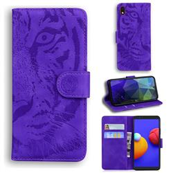 Intricate Embossing Tiger Face Leather Wallet Case for Samsung Galaxy A01 Core - Purple