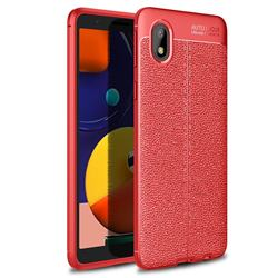 Luxury Auto Focus Litchi Texture Silicone TPU Back Cover for Samsung Galaxy A01 Core - Red