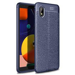 Luxury Auto Focus Litchi Texture Silicone TPU Back Cover for Samsung Galaxy A01 Core - Dark Blue