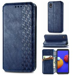 Ultra Slim Fashion Business Card Magnetic Automatic Suction Leather Flip Cover for Samsung Galaxy A01 Core - Dark Blue