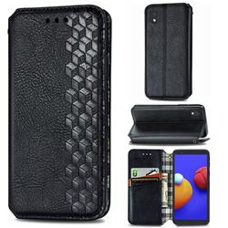 Ultra Slim Fashion Business Card Magnetic Automatic Suction Leather Flip Cover for Samsung Galaxy A01 Core - Black
