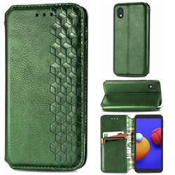 Ultra Slim Fashion Business Card Magnetic Automatic Suction Leather Flip Cover for Samsung Galaxy A01 Core - Green