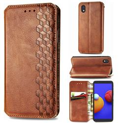 Ultra Slim Fashion Business Card Magnetic Automatic Suction Leather Flip Cover for Samsung Galaxy A01 Core - Brown