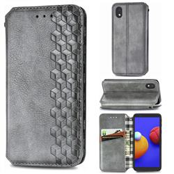 Ultra Slim Fashion Business Card Magnetic Automatic Suction Leather Flip Cover for Samsung Galaxy A01 Core - Grey
