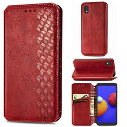 Ultra Slim Fashion Business Card Magnetic Automatic Suction Leather Flip Cover for Samsung Galaxy A01 Core - Red