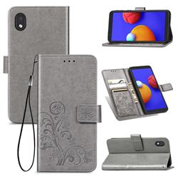 Embossing Imprint Four-Leaf Clover Leather Wallet Case for Samsung Galaxy A01 Core - Grey