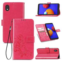 Embossing Imprint Four-Leaf Clover Leather Wallet Case for Samsung Galaxy A01 Core - Rose Red