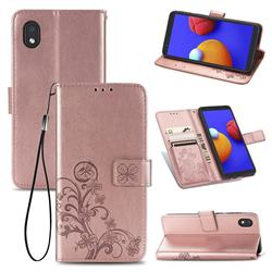Embossing Imprint Four-Leaf Clover Leather Wallet Case for Samsung Galaxy A01 Core - Rose Gold