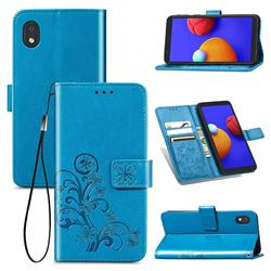 Embossing Imprint Four-Leaf Clover Leather Wallet Case for Samsung Galaxy A01 Core - Blue