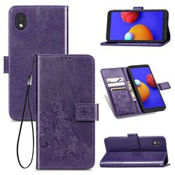 Embossing Imprint Four-Leaf Clover Leather Wallet Case for Samsung Galaxy A01 Core - Purple