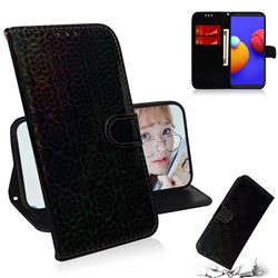 Laser Circle Shining Leather Wallet Phone Case for Samsung Galaxy A01 Core - Black