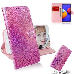 Laser Circle Shining Leather Wallet Phone Case for Samsung Galaxy A01 Core - Pink