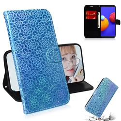 Laser Circle Shining Leather Wallet Phone Case for Samsung Galaxy A01 Core - Blue