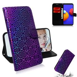 Laser Circle Shining Leather Wallet Phone Case for Samsung Galaxy A01 Core - Purple