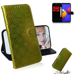 Laser Circle Shining Leather Wallet Phone Case for Samsung Galaxy A01 Core - Golden