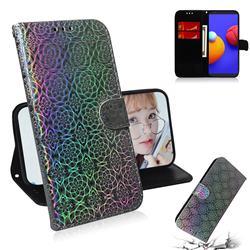 Laser Circle Shining Leather Wallet Phone Case for Samsung Galaxy A01 Core - Silver