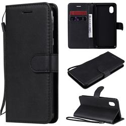 Retro Greek Classic Smooth PU Leather Wallet Phone Case for Samsung Galaxy A01 Core - Black