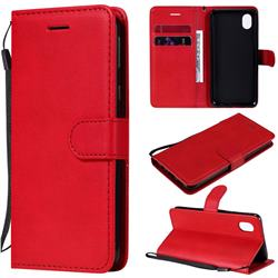 Retro Greek Classic Smooth PU Leather Wallet Phone Case for Samsung Galaxy A01 Core - Red