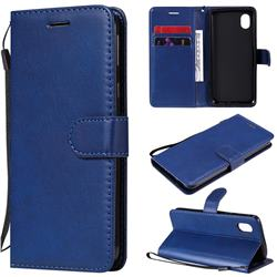 Retro Greek Classic Smooth PU Leather Wallet Phone Case for Samsung Galaxy A01 Core - Blue