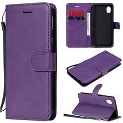 Retro Greek Classic Smooth PU Leather Wallet Phone Case for Samsung Galaxy A01 Core - Purple
