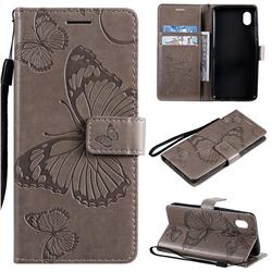 Embossing 3D Butterfly Leather Wallet Case for Samsung Galaxy A01 Core - Gray