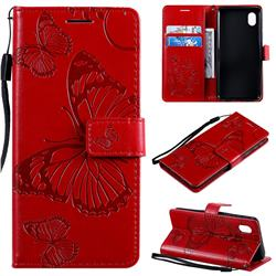 Embossing 3D Butterfly Leather Wallet Case for Samsung Galaxy A01 Core - Red