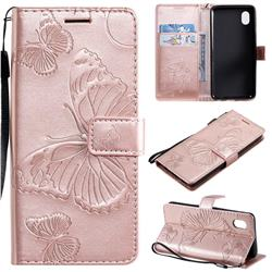 Embossing 3D Butterfly Leather Wallet Case for Samsung Galaxy A01 Core - Rose Gold