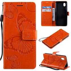 Embossing 3D Butterfly Leather Wallet Case for Samsung Galaxy A01 Core - Orange
