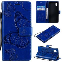 Embossing 3D Butterfly Leather Wallet Case for Samsung Galaxy A01 Core - Blue