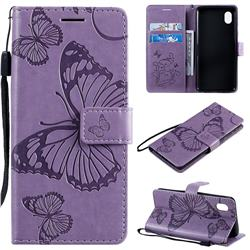 Embossing 3D Butterfly Leather Wallet Case for Samsung Galaxy A01 Core - Purple