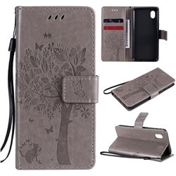 Embossing Butterfly Tree Leather Wallet Case for Samsung Galaxy A01 Core - Grey