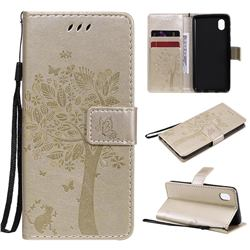 Embossing Butterfly Tree Leather Wallet Case for Samsung Galaxy A01 Core - Champagne