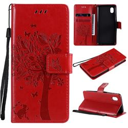 Embossing Butterfly Tree Leather Wallet Case for Samsung Galaxy A01 Core - Red