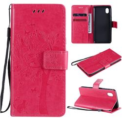 Embossing Butterfly Tree Leather Wallet Case for Samsung Galaxy A01 Core - Rose