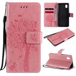 Embossing Butterfly Tree Leather Wallet Case for Samsung Galaxy A01 Core - Pink