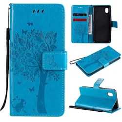 Embossing Butterfly Tree Leather Wallet Case for Samsung Galaxy A01 Core - Blue