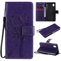 Embossing Butterfly Tree Leather Wallet Case for Samsung Galaxy A01 Core - Purple