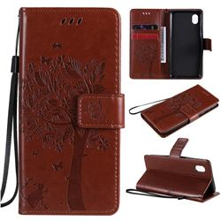 Embossing Butterfly Tree Leather Wallet Case for Samsung Galaxy A01 Core - Coffee