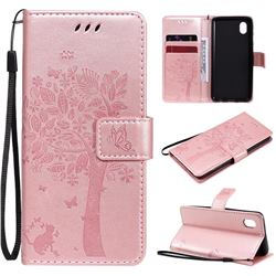 Embossing Butterfly Tree Leather Wallet Case for Samsung Galaxy A01 Core - Rose Pink