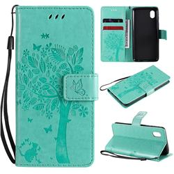 Embossing Butterfly Tree Leather Wallet Case for Samsung Galaxy A01 Core - Cyan