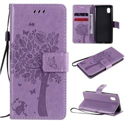 Embossing Butterfly Tree Leather Wallet Case for Samsung Galaxy A01 Core - Violet