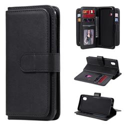 Multi-function Ten Card Slots and Photo Frame PU Leather Wallet Phone Case Cover for Samsung Galaxy A01 Core - Black
